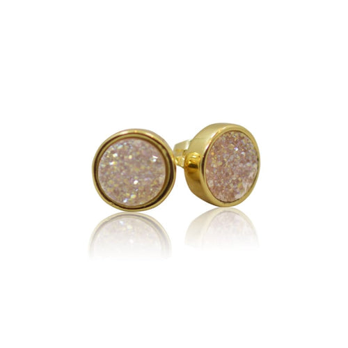 Druzy White Studs - Gold Earrings