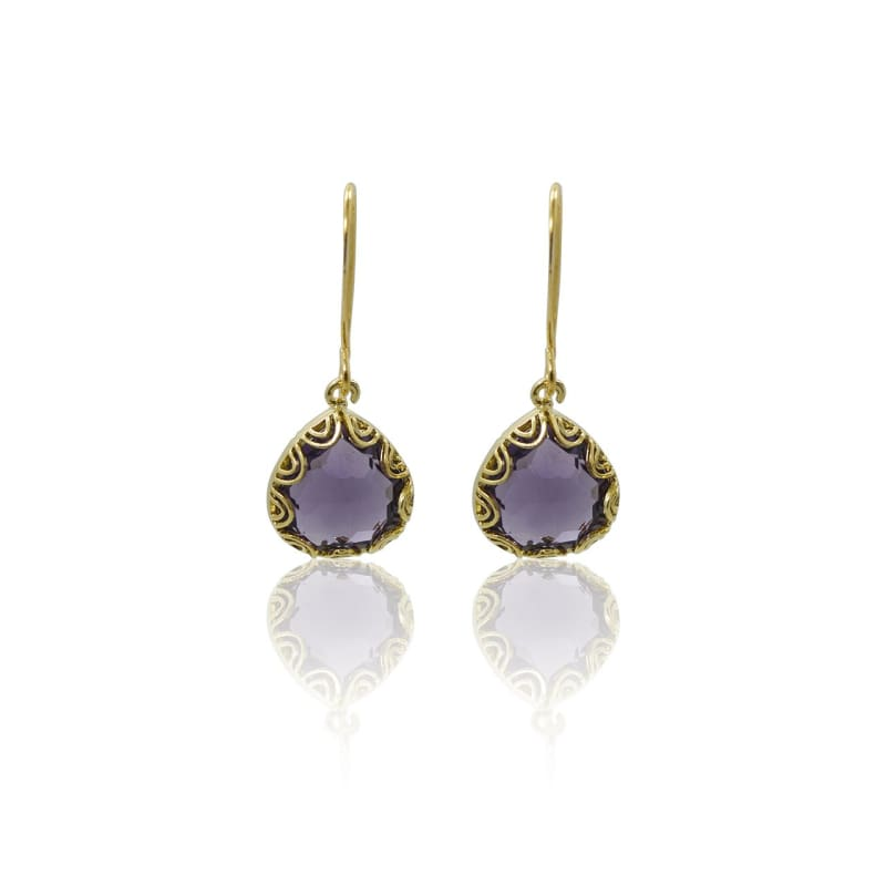 Fancy - Amethyst & Gold Earrings Earrings