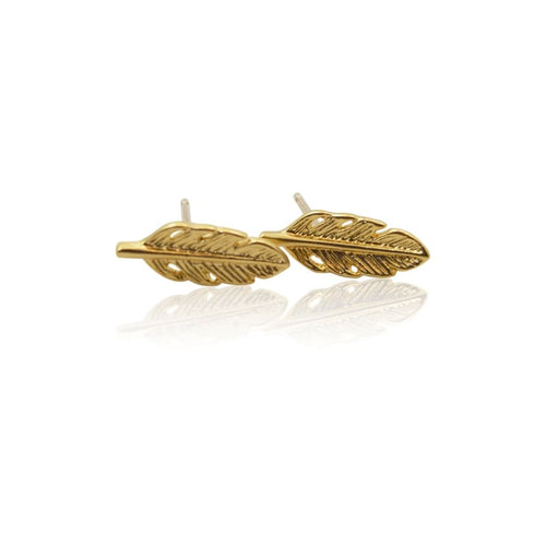 Feather Stud Earrings - Gold Earrings