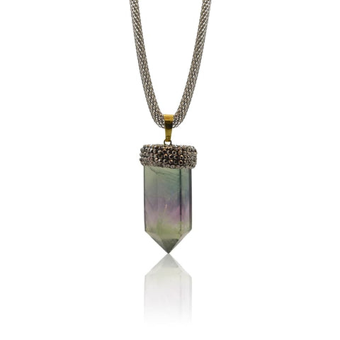 Amethyst Spike Necklace - Gold Hydro Quartz