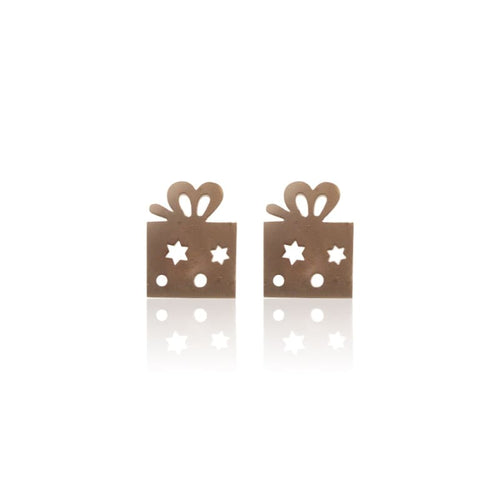 Gift Box Studs - Silver Earrings