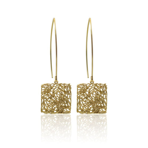 Global Connection - Square Gold Earrings