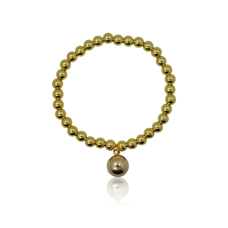 Gold Dangle Ball Stretch Bracelet Bracelet