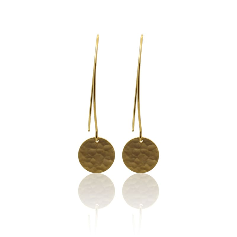 Hammered Disc - Gold Earrings