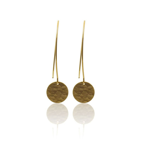 Brushed Metal Zen Drops - long silver earrings