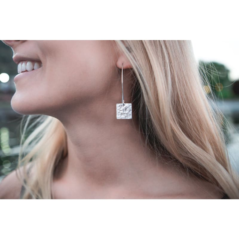 Hammered Square & Crystal Cross - Silver Earrings