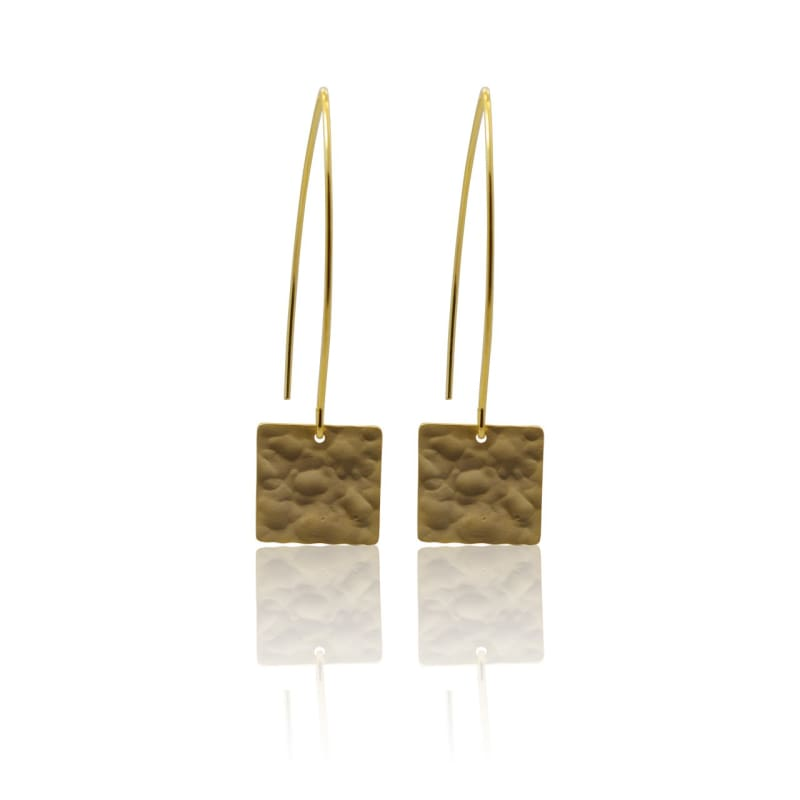Hammered Square - Gold earrings
