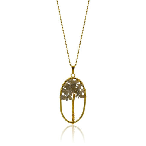 Labradorite Gemstone Tree Of Life Necklace - Gold Necklace
