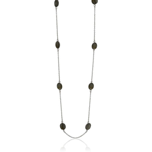 Labradorite Silver Bezel Chain Necklace