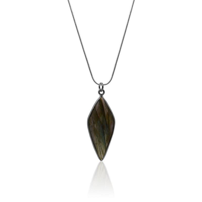 Labradorite Silver Spike Necklace Necklace