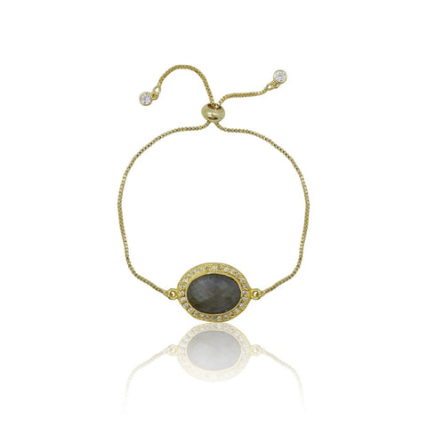 Druzy Grey Agate Adjustable Bracelet - Gold