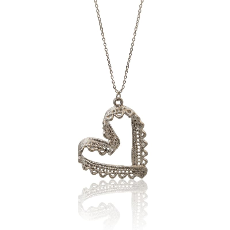 Lacy - Silver Heart Necklace Necklace