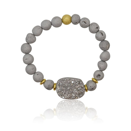 Large Druzy Grey Stretch Bracelet bracelet