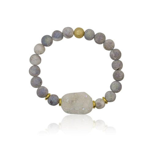 Large Druzy White Stretch Bracelet bracelet