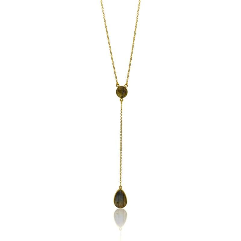 Lariat - Double Gem Drop - Labradorite & Gold 16 Necklace