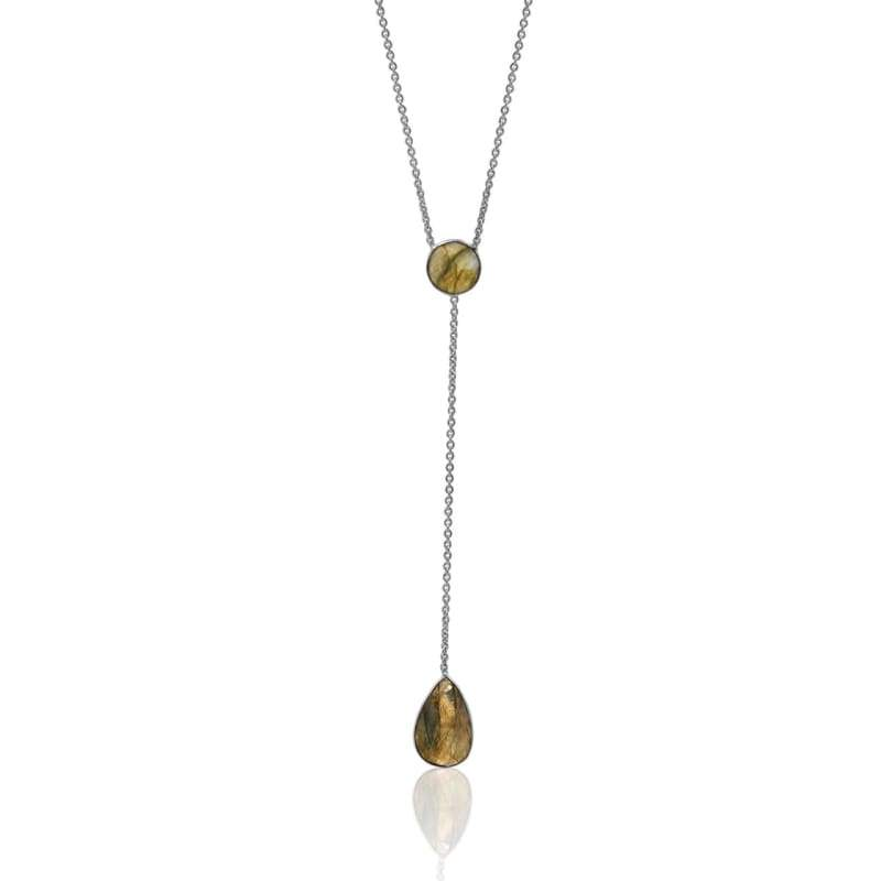 Lariat - Double Gem Drop - Labradorite & Silver 16 Necklace
