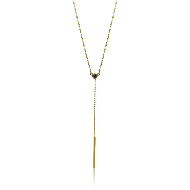Lariat - Zircon & Gold Necklace