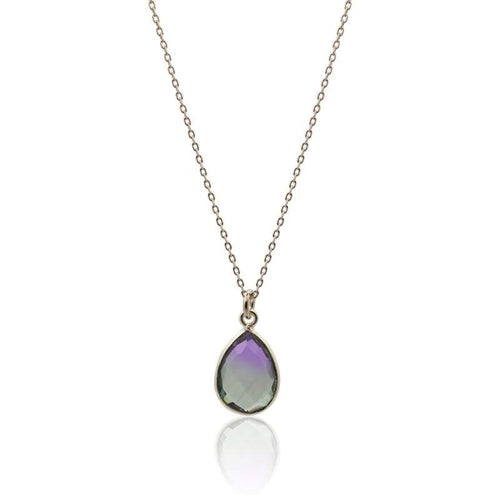 Light Green Aura Oval Drop Necklace - Silver 16 necklace