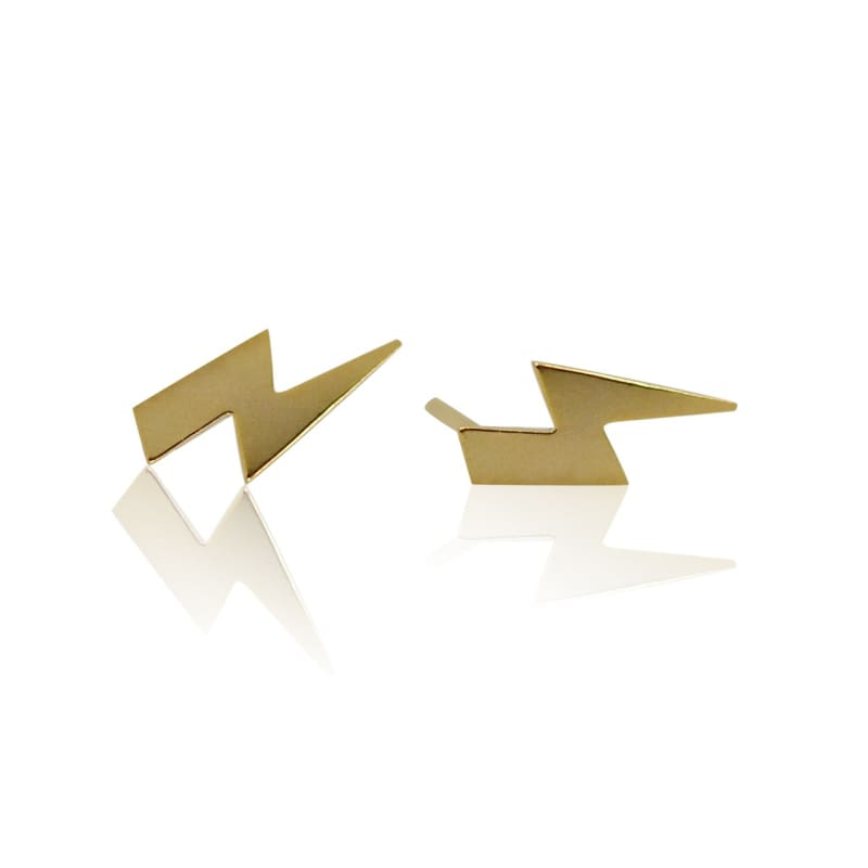 Lightning Bolt - Gold Earrings