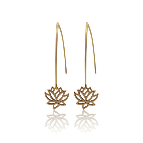 Lotus Flower Earrings - Gold Earrings