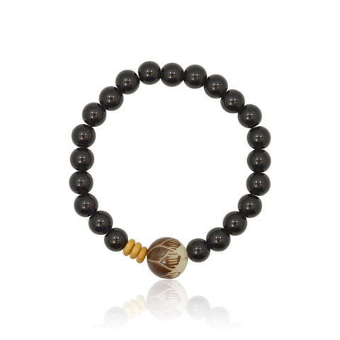 Lotus Flower Onyx Stretch Bracelet
