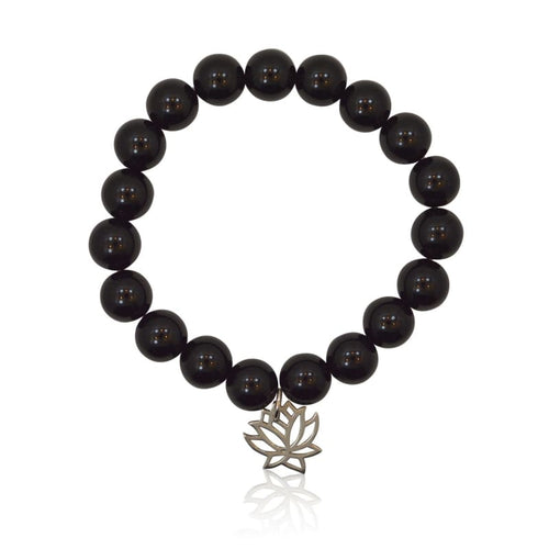 Lotus Flower Onyx Stretch Bracelet Bracelet