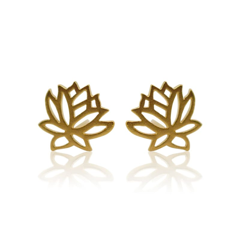 Lotus Flower Studs - Gold Earrings