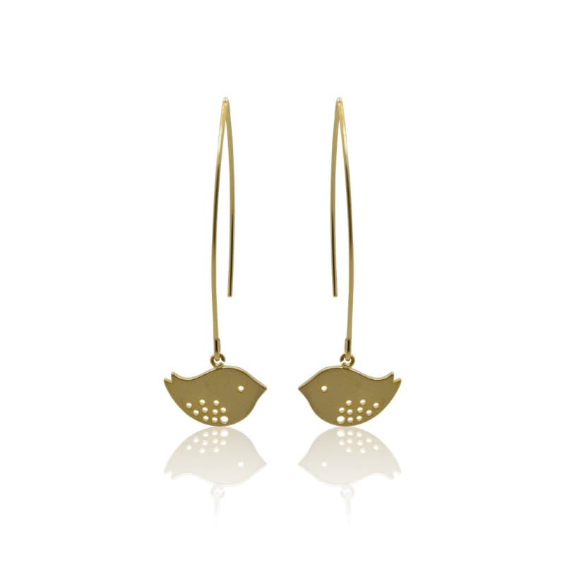 Love Birds - Long Gold Earrings gold earrings