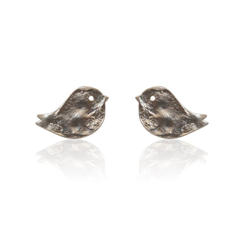 Love Birds - Silver Stud Earrings earrings