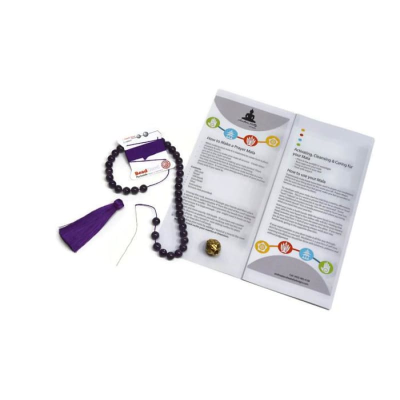 Mala Kit - Limited Edition Guru Bead- Diy Mala Kit - Amethyst - Peace And Spirituality Mala Kit