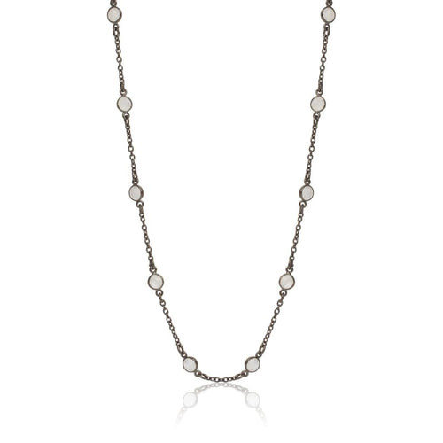 Moonstone Gunmetal Long Chain Necklace Necklace