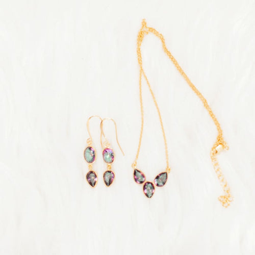 Mystic Topaz 2 Piece Earrings & 3 Piece Necklace COMBO - Gold earrings