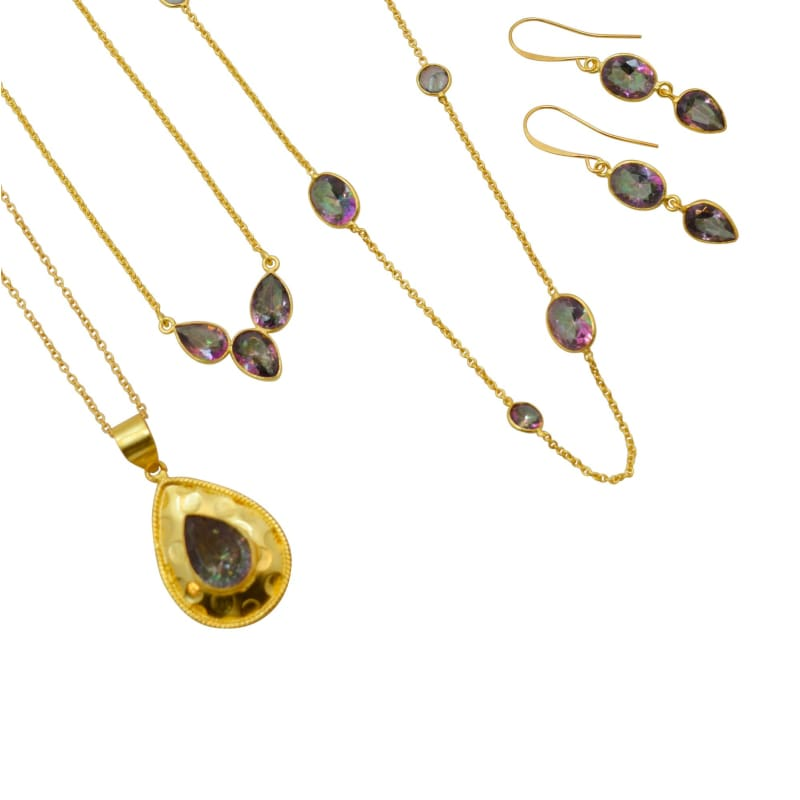 Mystic Topaz Long Bezel Chain - Gold 30 necklace
