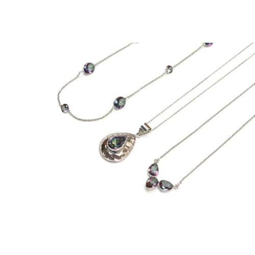 Mystic Topaz Long Bezel Chain - Silver 30 necklace