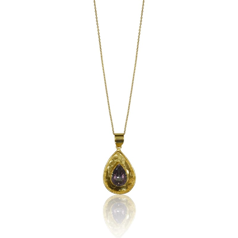 Mystic Topaz Medallion - Gold Necklace 18 Fine Chain Necklace