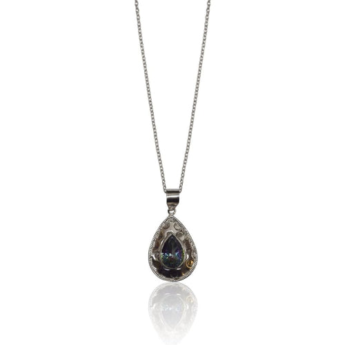 Mystic Topaz Medallion - Silver Necklace 36 Snake Chain Necklace