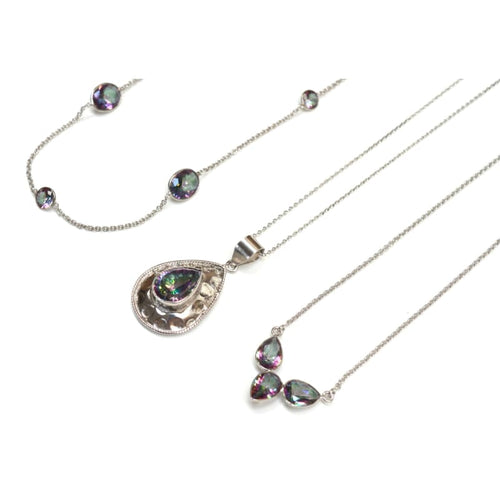 Mystic Topaz Medallion - Silver Necklace necklace