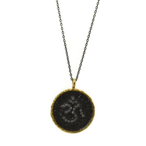 Om Mixed Metal Medallion Necklace
