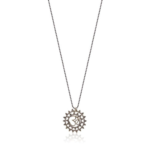 Om Silver Statement Medallion Necklace Necklace