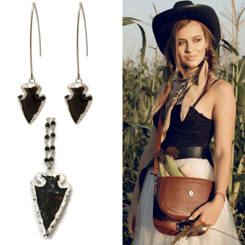 Onyx Arrow Head Necklace - Silver necklace