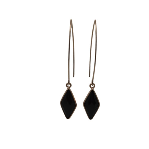 Onyx & Rose Gold Mini Spike Earrings earrings