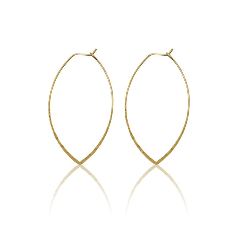 Oval Hammered Hoops - Gold Earrings