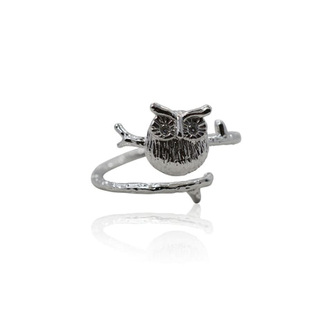 Lotus Flower Silver Adjustable Ring