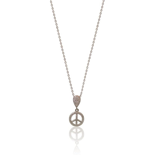 Peace - Crystal Silver Necklace Necklace