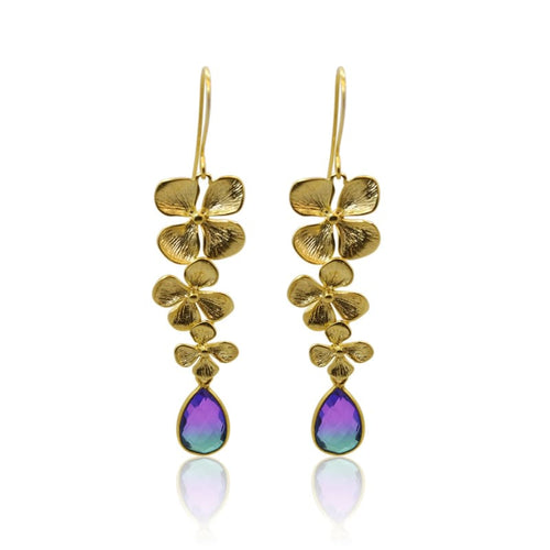Peacock Aura 3 Bloom Plumeria Gold Earrings earrings