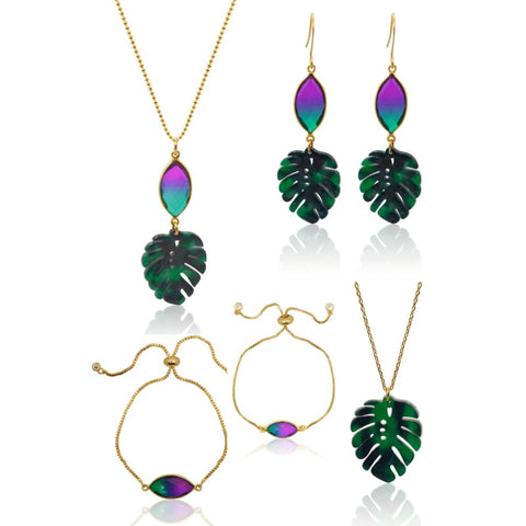 Peacock Aura Tropical Leaf Earrings
