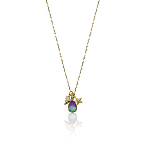 Peacock Aura Crystal Shell Starfish Necklace - Gold 16 necklace