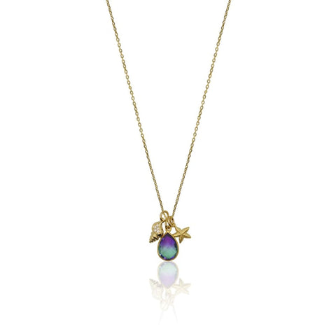 Peacock Aura Drop Double Strand Necklace - Gold