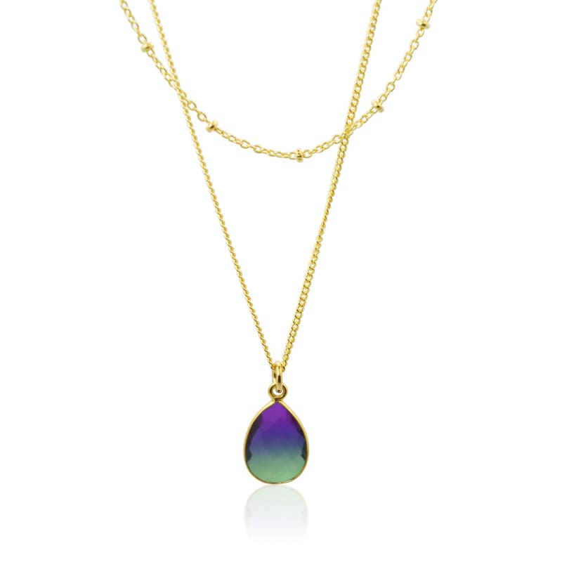 Peacock Aura Drop Double Strand Necklace - Gold 16 necklace
