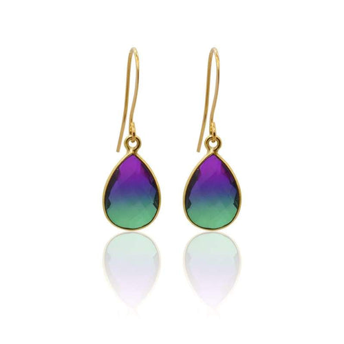 Peacock Aura Oval Drop Earrings - Short